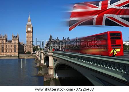 Big Ben with double decker, London, UK - stock photo