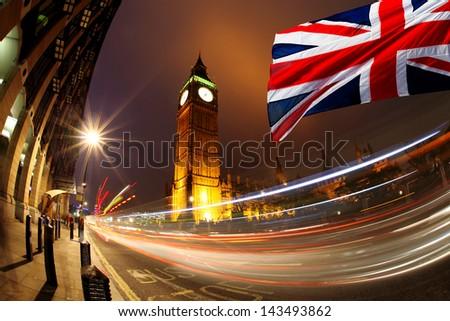 Big Ben with flag of England - stock photo