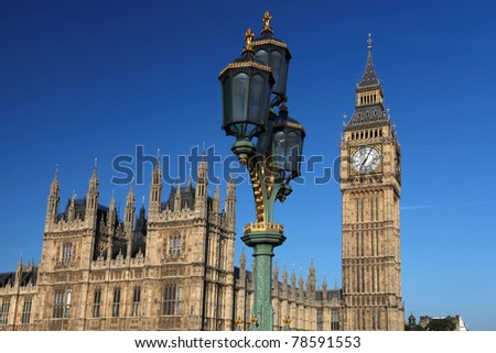 Big Ben with old lamp, London, UK - stock photo