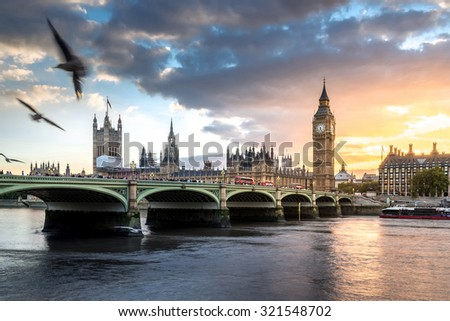 Big Ben with Sunset - stock photo