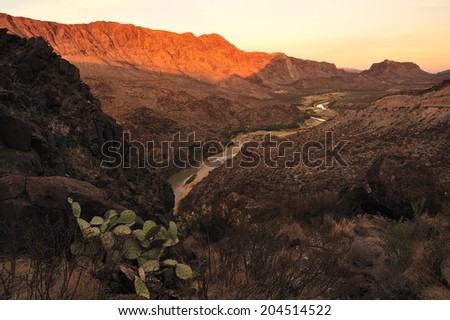 Big Bend National Park and Rio Grande river, border of United States and Mexico, Texas, United States. - stock photo