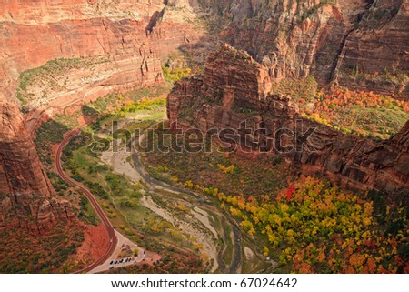 Big Bend seen form Angel's Landing in Zion Canyon National Park, Utah. - stock photo