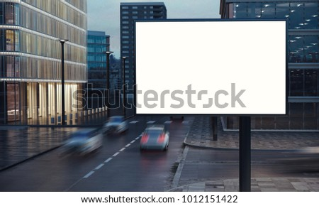 big billboard on city night 3d rendering