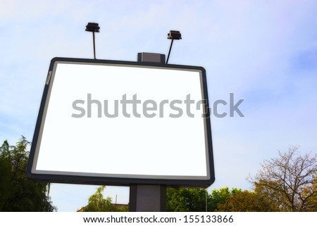 Big billboard with blank space ready to put your ad,  Blank billboard ,photography