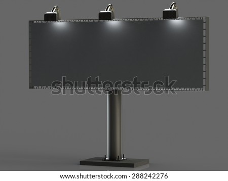 Big billboard with illumination on a concrete slab isolated gray background - stock photo