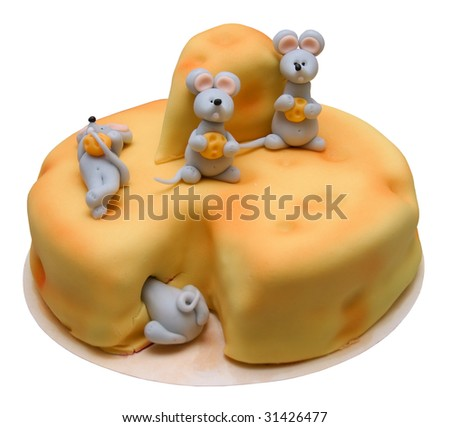 Big birthday cake decorated with mouses and chess - stock photo