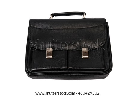 Big black briefcase with two shiny locks. Object on a white background.