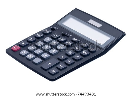 Big black calculator - isolated on white background