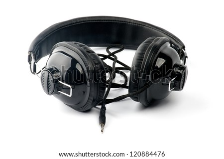 Big Black Headphones with Cord isolated on white background