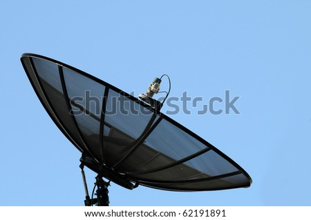 Big Black Satellite Dish - stock photo