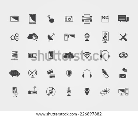 Big  black Technology icons set isolated
