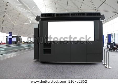 big Blank Billboard in airport shot in asia - stock photo