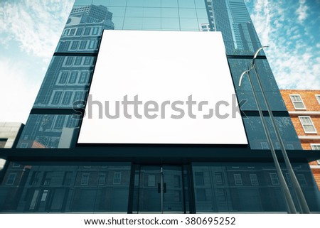 Big blank billboard on glassy business center at sunny day, mock up 3D Render - stock photo