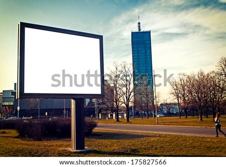 Big blank billboard on the city streets - stock photo