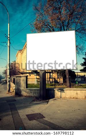 Big blank billboard on the street - stock photo