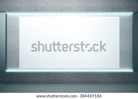 Big blank glowing poster on the wall in empty room, mock up,  - stock photo