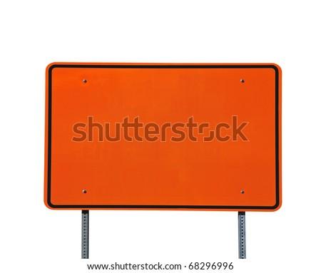 Big blank orange highway road sign isolated on white. - stock photo
