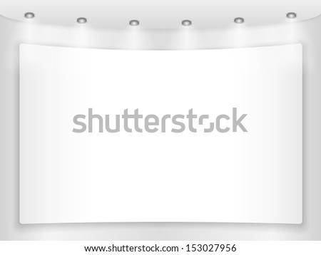 Big blank placard on a round wall - stock photo