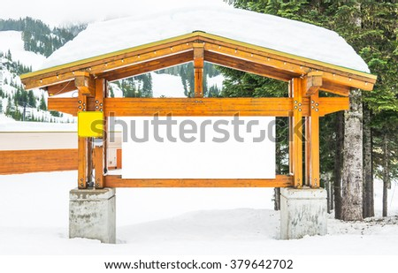 big Blank white billboard with snow covered Ready for product display montage advertisement. - stock photo