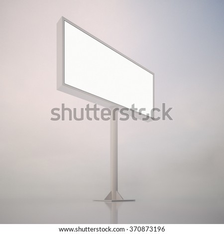 Big blank white billboard with space for your advertisement, against abstract background. Vertical. 3d render - stock photo