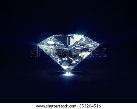 Big Blue Diamond on black background with Glowing Rays