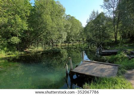 Big Blue Lake in Kazan, Tatarstan, Russia. - stock photo
