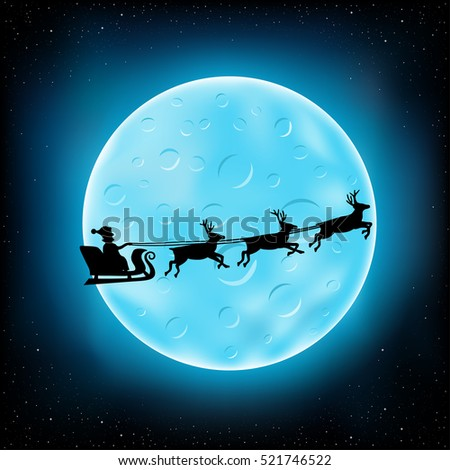 Big blue moon with craters and flying Santa Claus with reindeer on night stars background