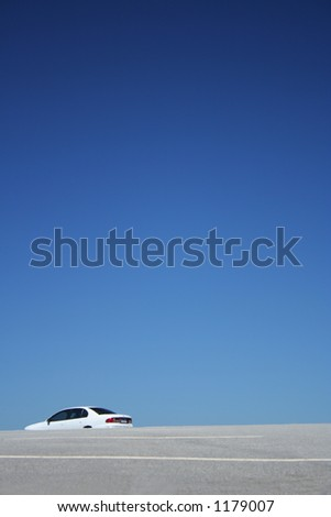 big blue sky and car park lots - stock photo