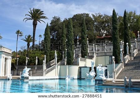 big blue swimming pool - stock photo