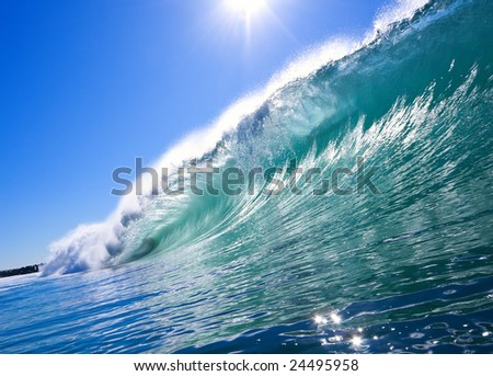 Big Blue Wave with Sun and Clear Sky, Epic Surf - stock photo