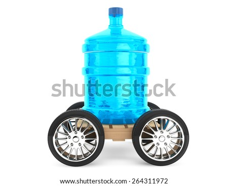 Big bottle of drinking water with wheels on a white background - stock photo