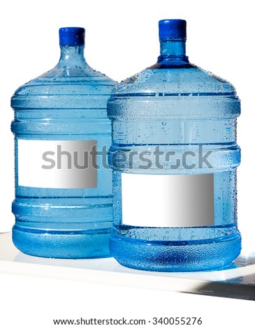 Big bottle of water with label isolated on a white background - stock photo