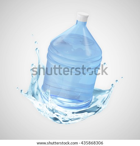 Big Bottle of Water with Splash on gradient background. 3D Rendering - stock photo