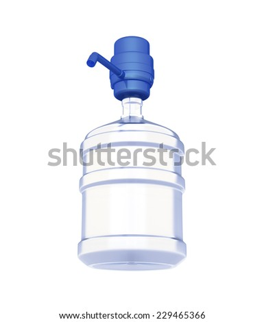 big bottles of water with pump isolated on a white background - stock photo