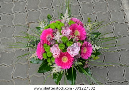 Big bouquet with pink gerbera and roses - stock photo