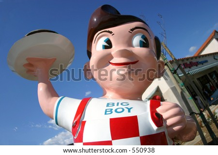 Big Boy statue at the Bob's Big Boy Express in Santa Paula, California - stock photo