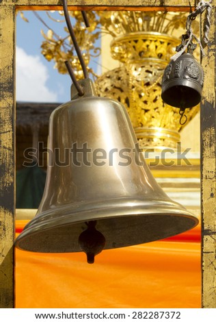 Big brass bell in Thai temple - stock photo