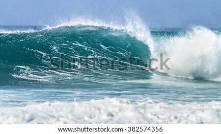 big breaking wave on the ocean - stock photo