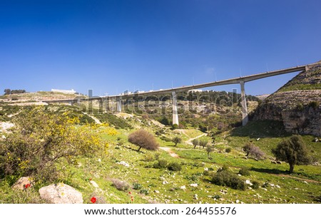 Big bridge in mountains in Israel - stock photo