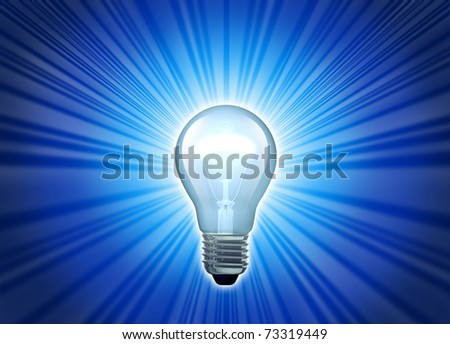 Big bright idea represented by a glowing blue lightbulb symbol of creativity. - stock photo