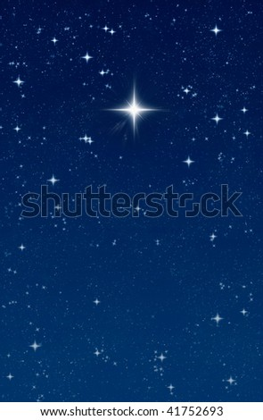 big bright wishing star in the night sky