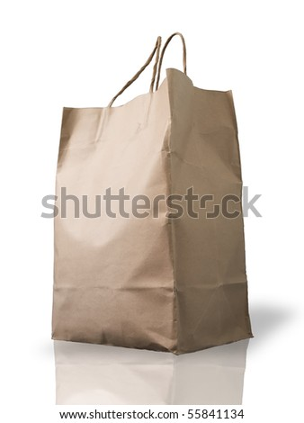 Big Brown Crumpled paper Bag form the market - stock photo