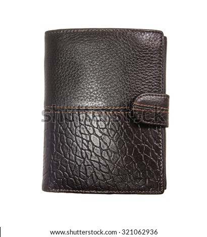 big brown leather men's stylish wallet, on white background; isolated - stock photo