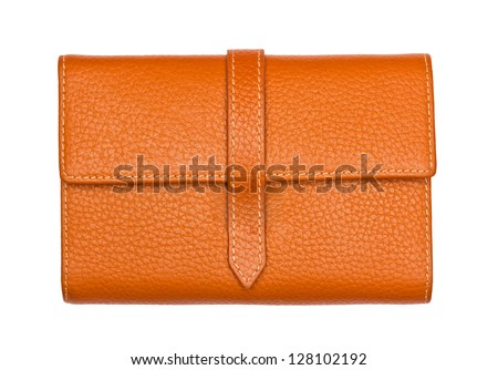 Big Brown purse on white - stock photo