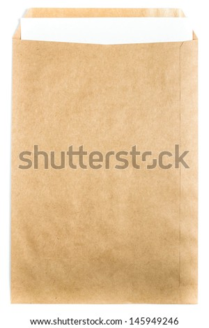 Big Brown Recycled Envelope craft document with paper letter  card on white background, closeup - stock photo