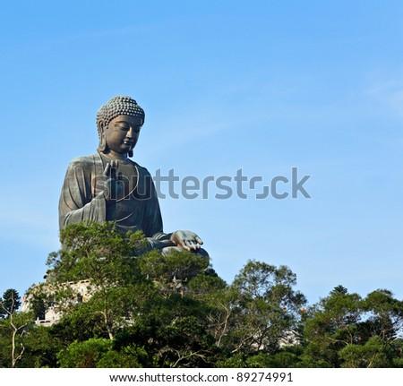 Big Buddha in Hong Kong - stock photo