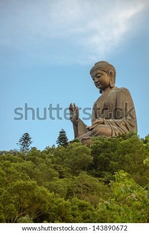 Big Buddha on lotus flower - stock photo