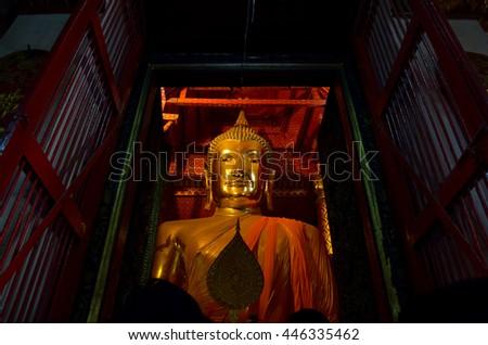 Big Buddha statue in  Ayutthaya, central of Thailand  - stock photo