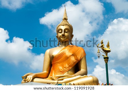 Big Buddha Statue with nice blue sky background.