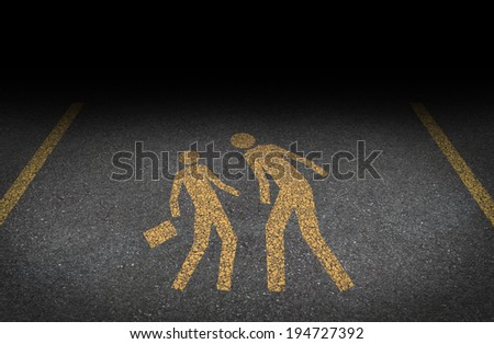 Big bully and bullying concept as yellow painted road sign on asphalt with an abusive bully attacking another person as a symbol of being bullied and the social issues of human abuse and fear. - stock photo